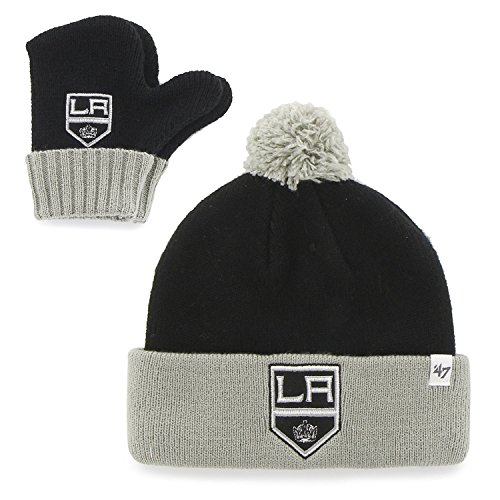 "Los Angeles Kings Infant/Toddler ""Bam Bam"" Beanie Hat POM and Glove Gift combo - NHL Baby Knit Cap/Mittens"