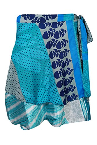 Womens Beach Wrap Around Skirt Printed Silk Sari Two Layer Reversible Mini Skirts (Blue)