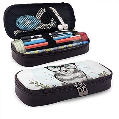 Lindo estuche para lápices, diseño de gato con gafas, bufanda, collar y pendientes y flores pequeños corazones, soporte perfecto para lápices y bolígrafos: Amazon.es: Oficina y papelería