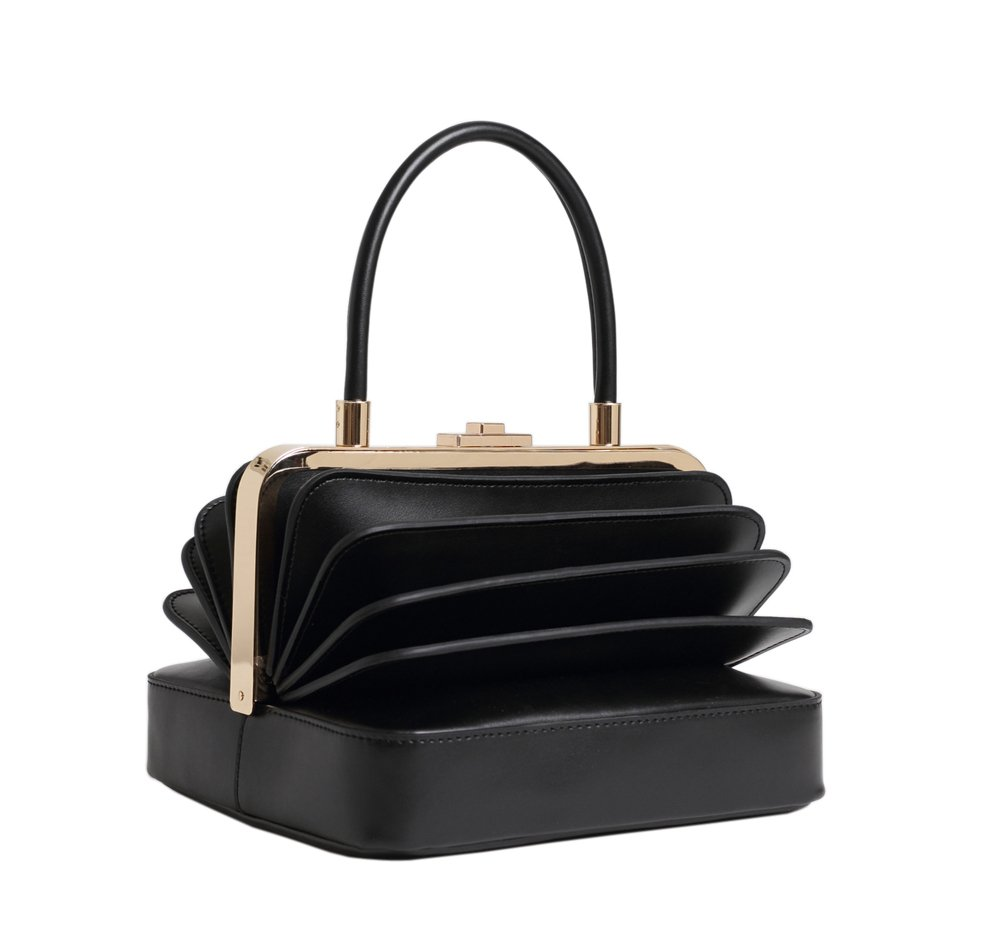 Qidell Women's Genuine Leather Designer Clutch Bag Evening Clutch Tote Purse Evening Bag (Black)