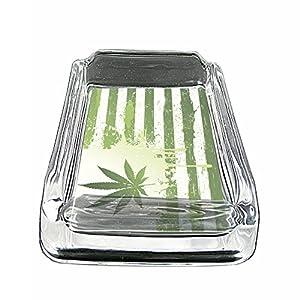 "Vintage Marijuana Art S2 Glass Square Ashtray 4""x3"" Sturdy Cigarette Smoking 420 Classic Weed Images from Retro America Spot Light"