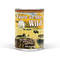 Taste of the Wild High Prairie Grain Free Protein Real Meat Recipe Natural Wet Canned Dog Food a Stew with Real Roasted Bison & Venison 13.2oz , Case of 12