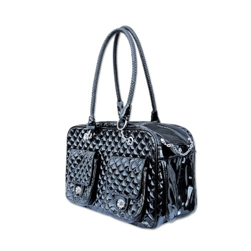 Anima Faux Patent Leather Quilted Carrier, 17-Inch by 8.5-Inch by 10.5-Inch, Black (Faux Leather Pet Carrier)