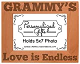 Cheap ThisWear Grammy's Love is Endless Natural Wood Engraved 5×7 Landscape Picture Frame Wood