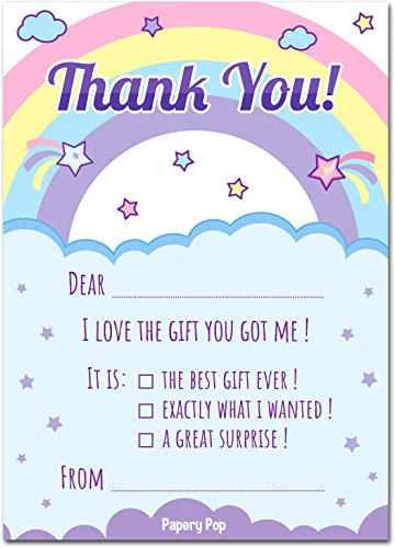 Kids Thank You Cards with Envelopes (15 Count) - Kids Birthday Thank You Notes for Girls