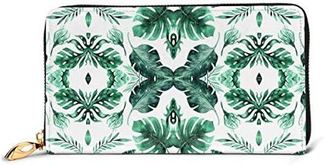 熱帯のヤシのモンステラと水彩熱帯ジャングルシームレスな夏パターン背景の葉 本革長財布 ファスナー財布 おしゃれ 大容量 男女共用高級おしゃれなジップレザーウォレットロングハンドバッグ