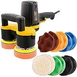 Custom Shop 4'' Dual Head Variable Speed Random Orbit Dual-Action Polisher with Waffle Foam Buffing and Polishing 12 Pad Kit