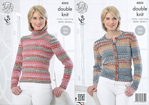 King Cole Ladies Double Knitting Pattern Womens Polo Neck Sweater & Cardigan Drifter DK (4253) by King Cole by King Cole