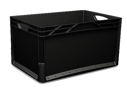 3 x 66 L Euronorm Eco Industrial Plástico Apilables Euro cajas de almacenamiento contenedores cajas negro