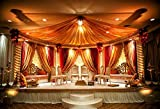 Laeacco Indian Wedding Mandap Photography Background 7x5ft Luxury Hotel Hall Stage Hinduism Bride Groom Canopy Ceremony Couple Hindu Husband Garland Spice Marriage Honeymooners Tradition Wife