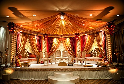 (Laeacco Indian Wedding Mandap Photography Background 10x6.5ft Luxury Hotel Hall Stage Hinduism Bride Groom Canopy Ceremony Couple Hindu Husband Garland Spice Marriage Honeymooners Tradition Wife)