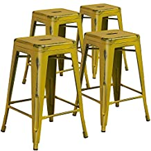 """Flash Furniture High Backless Distressed Metal Indoor Counter Height Stool (4 Pack), 24"""", Yellow"""