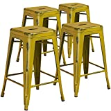 "Cheap Flash Furniture 4 Pk. 24"" High Backless Distressed Yellow Metal Indoor-Outdoor Counter Height Stool"