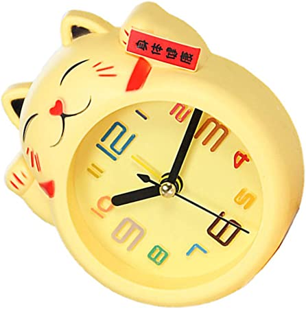 Blanc VOSAREA Chat r/éveil Mignon Dessin anim/é Enfants Horloge de Table Non-Ticking pour Enfants Filles gar/çons Chambre Cadeau d/écor