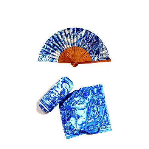 Set of Hand Fan Eyeglass Case Cleaning Cloth 18th Century Angel Tile Themed Made In - 18th Eyeglasses Century