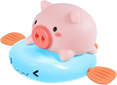 FunPa Bath Toy Cute Wind up Pig Floating Toy Shower Toy Bathing Toy for 1-4 Years Old Toddlers