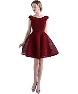luckyservice88 Burgundy Short Part Prom Dress Cocktail Dresses Formal Bridesmaid Gowns 18