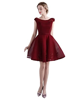 luckyservice88 Burgundy Short Part Prom Dress Cocktail Dresses Formal Bridesmaid Gowns 12