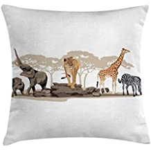 Safari Throw Pillow Cushion Cover by Ambesonne, Illustration of Wild Savannahs African Animals Exotic Giraffe Lion Elephant Zebra, Decorative Square Accent Pillow Case, 24 X 24 Inches, Multicolor