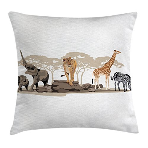 Ambesonne Safari Throw Pillow Cushion Cover, Illustration of Wild Savannahs African Animals Exotic Giraffe Lion Elephant Zebra, Decorative Square Accent Pillow Case, 24 X 24 Inches, Multicolor