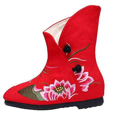 Avacostume Vrouwen Lotus Borduurwerk Verhogen Mode Enkellaarzen Rood