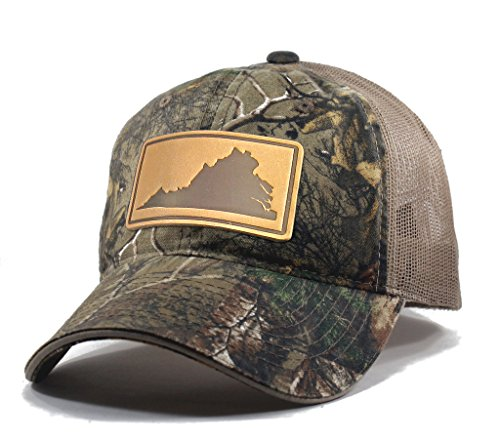 (Homeland Tees Men's Virginia Leather Patch Camo Trucker Hat - Realtree)