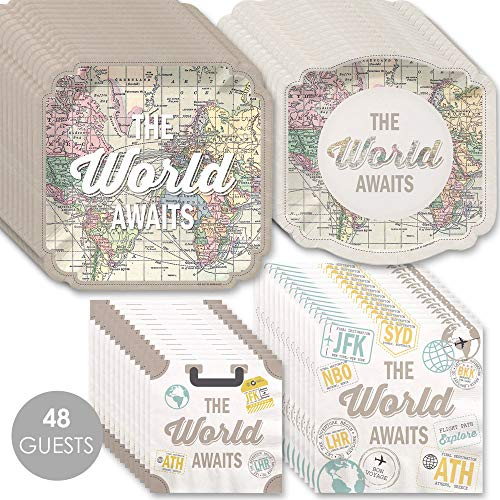 World Awaits - Travel Themed Party Tableware Plates and Napkins - Bundle for 48 -