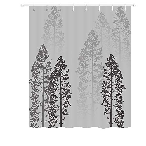 JAWO Forest RV Shower Curtain, Fog Woods Trees Landscape Fabric Shower Curtain for Camper Trailer Camping Bathroom 47 X 64 Inches, Gray (1 64 Rv Trailer)