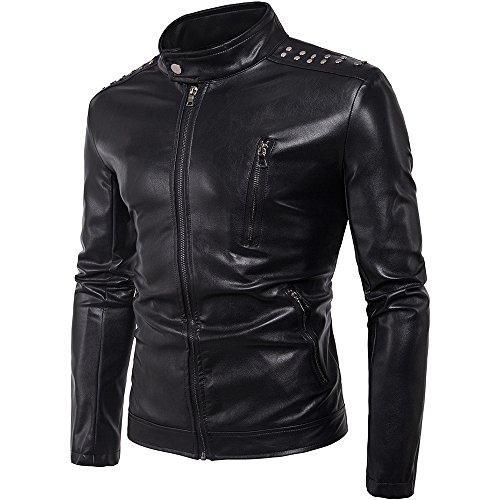 Men's Leather Jacket Smooth Zip Up Fitted Faux Leather Bomber Moto Jacket