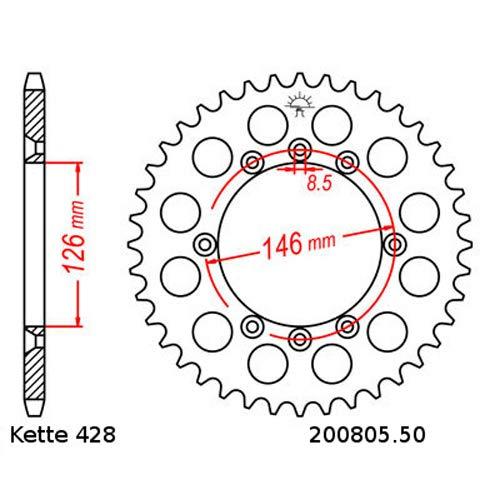 Kettensatz geeignet f/ür Suzuki DR 125 SM 08-13 Kette RK GS 428 HSB 130 offen GOLD 16//50