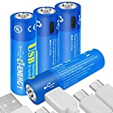 CT ENERGY USB Rechargeable AA Batteries 1.5V/1600mAh Lithium ion Battery with 1.5 Hours Quick Charging Micro-USB Port Li-ion Double A Batteries (4packs)