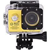 Acouto Wifi Waterproof Camera 12MP 1080P HD Sport Camera 170 Degree Ultra Wide Angle Len,Removeble Battery with US Plug Accessories Kits (yellow)
