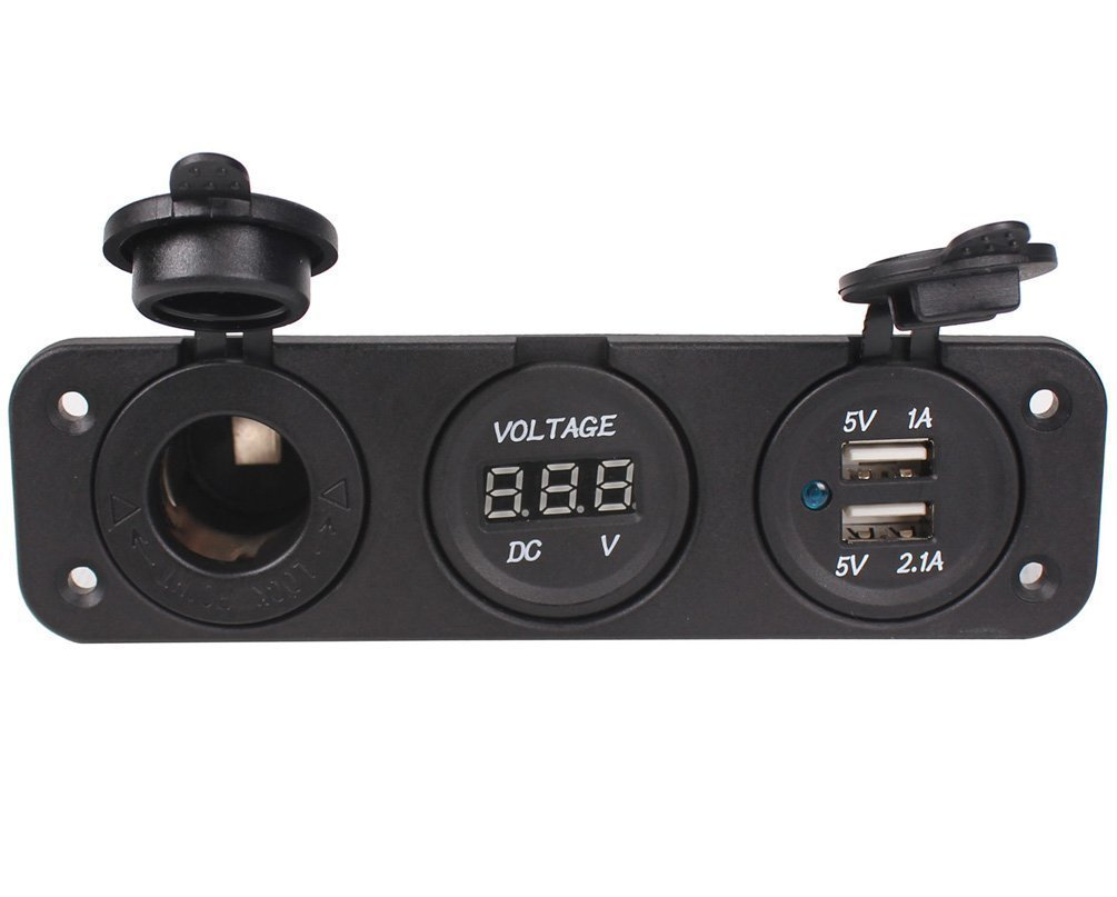 Car DC Digital Voltmeter/Dual USB 2 Port/DC12V Power Socket Three Hole Panel Fundior FD-3DYQ
