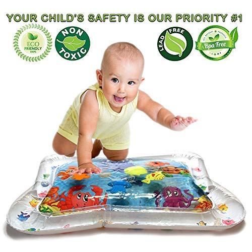 Tummy Time Toys Water Mat Activity Center for Baby - Inflatable Fill N Play Sensory Game for Infants