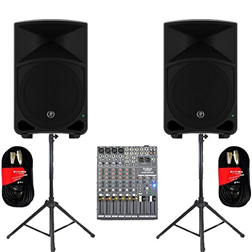 "Mackie THUMP12 Powered 12"" Loudspeakers Mixer Cables and Stands 2000 Watts THUMP12SET5"