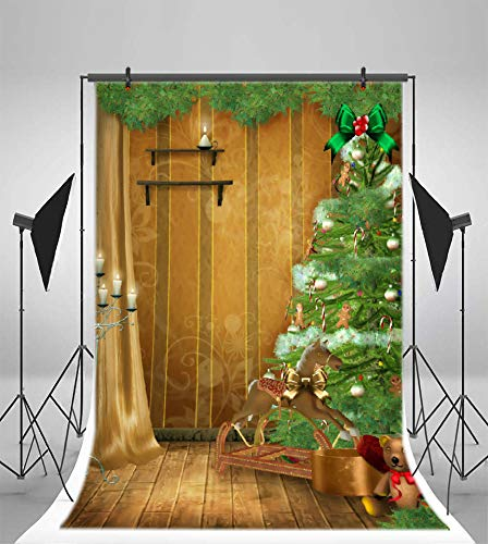 Leyiyi 6.5x10ft Merry Christmas Photography Backdrop Sleigh Baby Cart Pine Tree Candy Cane Candles Wreath Toy Bear Gifts Curtain Background Happy New Year Xmas Photo Portrait Vinyl Studio Prop