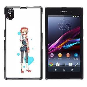 GOODTHINGS Funda Imagen Diseño Carcasa Tapa Trasera Negro Cover Skin Case para Sony Xperia Z1 L39 C6902 C6903 C6906 C6916 C6943 - Animado del amor de la princesa del corazón japonés