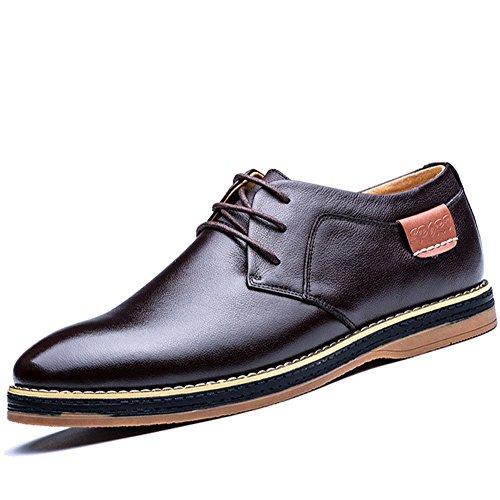 Eagsouni Herren Freizeitschuhe Schnürhalbschuhe Leder Casual Schuhe Klassiker Oxfords Braun