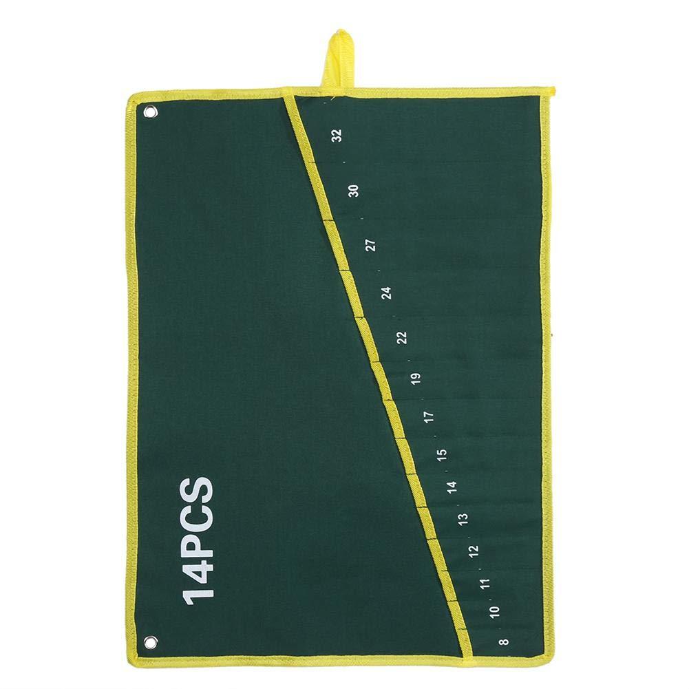 1 Unids Durable Bolsa de Herramientas de Lona Llave Organizador de Almacenamiento Bolsa con Verde 6//8//10//12//14//25 Bolsillos 25 Pockets