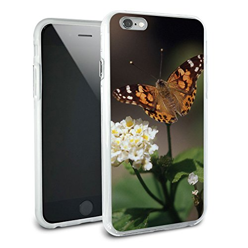 Schmetterling auf Blume – Moth Hybrid Rubber Schutz Hülle Slim Case Cover Etui Bumper für Apple iPhone 6 Plus