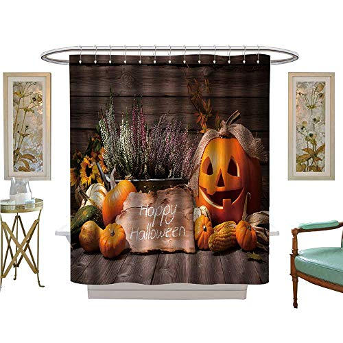 luvoluxhome Shower Curtain Collection by Halloween Still Life with Pumpkins and Halloween Holiday Text Satin Fabric Sets Bathroom W48 x -