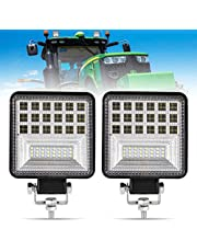 FieryRed 2Pcs LED Work Light - 4 Inch Flood LED Light Bar for Tractor Offroad 4WD Truck ATV UTV SUV Driving Lamp Daytime Running Light