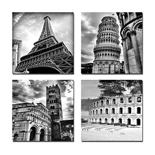Wieco Art   Architectures Modern 4 Panels Giclee Canvas Prints Europe  Buildings Black And White Landscape Pictures Paintings On Canvas Wall Art  Ready To ...