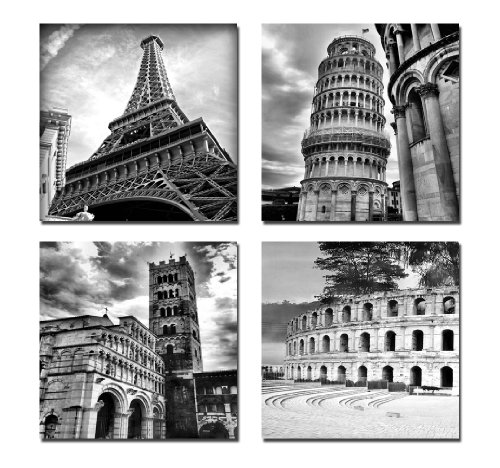 Wieco Art 4 Panels Large Canvas Prints Wall Art Europe Architectures Pictures Paintings for Living Room Kitchen Home Decor Modern Stretched and Framed Giclee Famous Buildings B & W Landscape - Architecture Framed