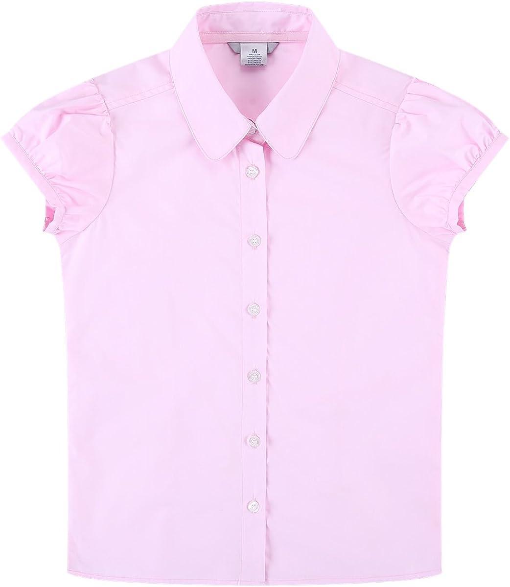 Bienzoe Ragazze Manica Corta Oxford Camicia