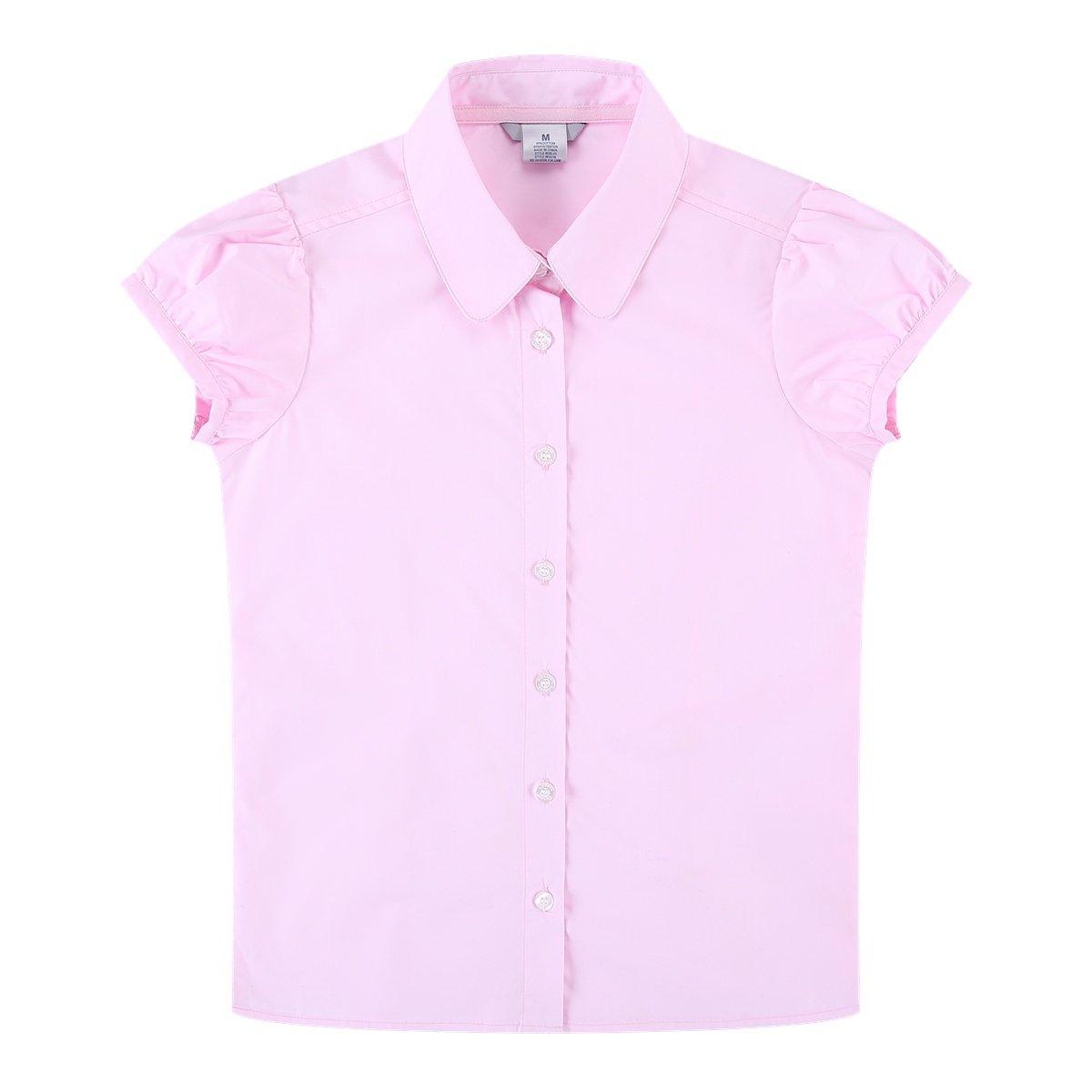 Bienzoe Big Girl's School Uniforms Oxford Short Puff Sleeve Blouse Pink L