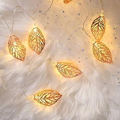 Corsion Solar 2M 10LED String Lights Iron Leaves Romantic Light for Party Wedding Garden Christmas Decor