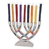 Aluminum Menorah with Decorative Inlay