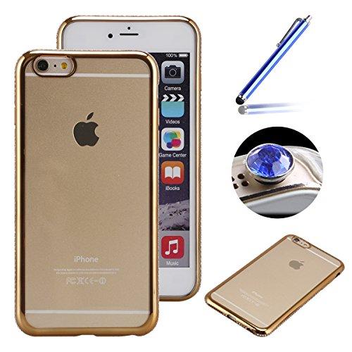 Etsue diamante Frame per iPhone 6Plus/6S Plus, Lusso Strass cornice dorata morbida trasparente in Gel TPU per iPhone 6Plus/6S Plus 5.5+ Blu Stylus Pen + tappo antipolvere Glitter colori random-diam