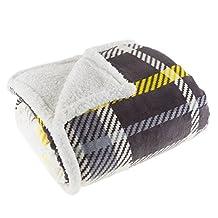 Lavish Home 61-00004-BL Fleece Sherpa Blanket Throw, Plaid Yellow/Grey